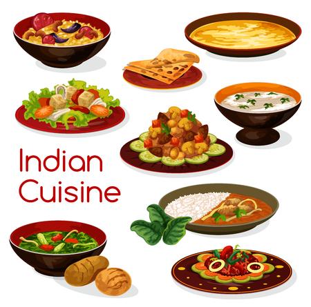 Illustration pour Indian cuisine meal icons and dishes - image libre de droit