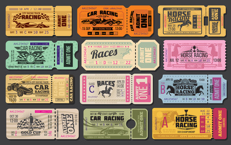 Illustration pour Auto and horse racing sport event tickets template. Admit one cards with vintage racing car, racehorse and winner trophy cup, racing flag and stopwatch for motorsport and equestrian sport design - image libre de droit