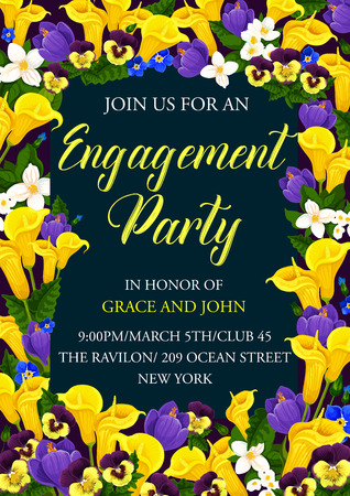 Illustration pour Engagement party floral banner of wedding ceremony invitation template. Festive flower bouquet of spring crocus, calla lily, pansy and jasmine frame border for invite card and greeting postcard design - image libre de droit