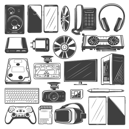 Electronic device icons. Computer, mobile phone and camera, laptop, monitor and tablet pc, headphone, video game joystick and speaker, plug, keyboard, memory and video card digital gadget sketches