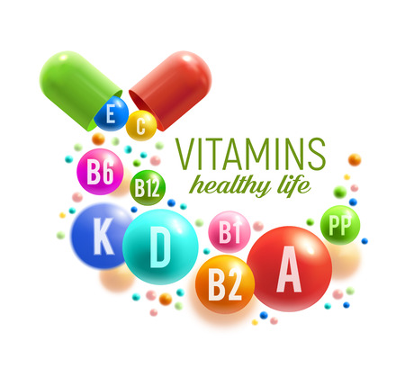 Illustration pour Vitamin for healthy life poster. Colorful pill and ball of multivitamin spilled out of vitamin capsule for natural food supplement advertising, pharmacy promotion banner design - image libre de droit