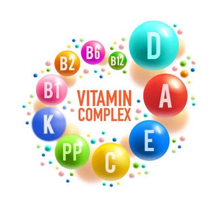 Illustration pour Vitamin complex poster with colorful pill of healthy food supplement. Multivitamin ball with A, B group and D, C, E and K vitamin for diet nutrition, pharmacy and health care banner design - image libre de droit