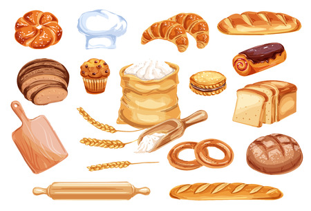 Vektor für Bread watercolor icon of wheat food product. Loaf of rye and wheat bread, french baguette and croissant, cake, cupcake and toast, cookie, bun and bagel, flour bag, baker hat and wooden rolling pin - Lizenzfreies Bild
