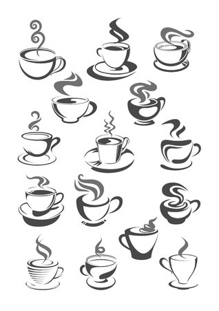 Illustration pour Coffee house, cafeteria or cafe cups vector icons or templates set for menu or sign. Vector symbols of hot chocolate mug, strong espresso cup or latte macchiato and americano frappe for coffee shop - image libre de droit
