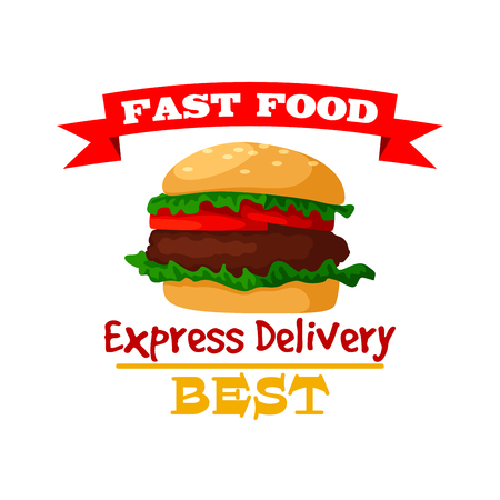 Illustration pour Hamburger icon. Fast food burger emblem of crispy sesame bun, fresh meat cutlet and vegetables lettuce. Vector isolated fast food meal symbol with ribbon for fast food sign or takeaway menu or delivery - image libre de droit