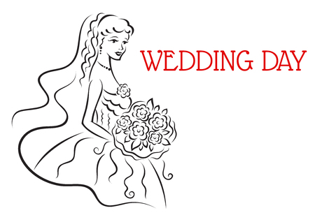 Illustration pour Silhouette of pretty bride with flowers in sketch style for wedding and marriage design - image libre de droit