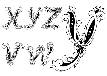 Illustration for Alphabet letters v,w, x,y,z  in retro style decorated with flowers for any medieval or monogram design - Royalty Free Image