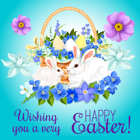 Illustration pour Happy Easter greeting card of paschal eggs and bunny rabbits in wicker basket and springtime flowers bunch of crocuses, daffodils and tulips. Vector design for Easter religion holiday wishes - image libre de droit
