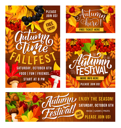 Illustration pour Thanksgiving Day fall fest invitation posters for traditional holiday festival celebration. Vector design of autumn vegetables and fruits harvest with maple leaf and berries - image libre de droit