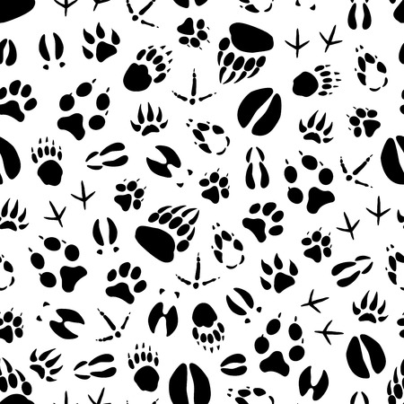 Illustration pour Animal track seamless pattern background of wild mammal and bird footprint. Bear, dog and wolf, tiger, deer and hog, duck, bull and chicken paw and foot print for hunting sport tracking themes design - image libre de droit