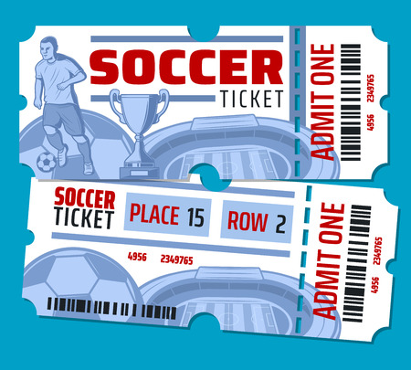 Illustration for Soccer cup or football sport game tickets. Vector design of soccer ball, football player on arena stadium and goal victory cup with stars and ticket admit cut line - Royalty Free Image