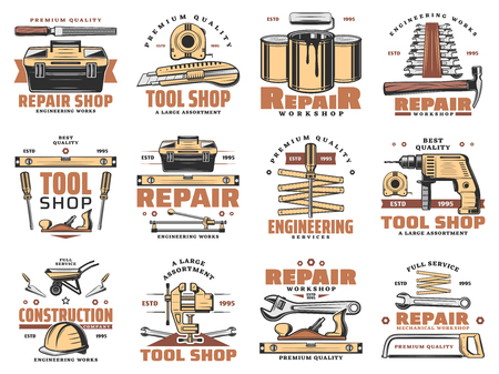 Photo for Repair work tools and carpentry or engineering service icons. Vector set worker safety helmet, wrench or spanner and hammer, paint brush and woodwork saw with grinder for tool workshop - Royalty Free Image