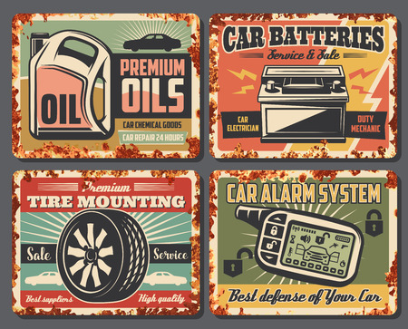 Illustration for Car service and auto garage repair station posters with rust effect. Vector vintage design for premium engine oils change and battery mechanic and tire pumping or car alarm installation - Royalty Free Image