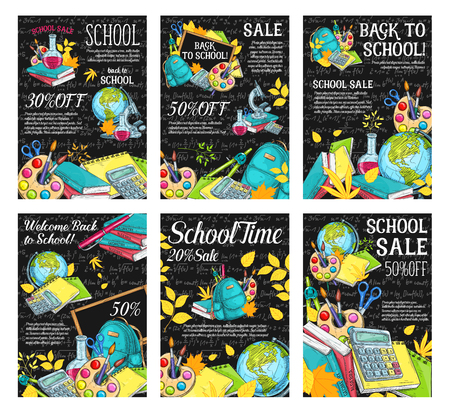 Welcome back to school sale banner set. School supplies special offer promotion poster with sketches of pencil, book and backpack, paint, globe and calculator on chalkboard, adorned with autumn leaves
