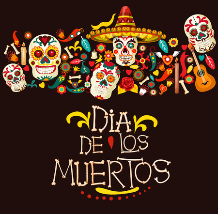 Illustration pour Dia de los Muertos greeting card for Mexican traditional holiday or Day of Dead celebration. Vector cartoon skeleton skulls in sombrero with Mexico ornaments, banjo guitar and candles - image libre de droit