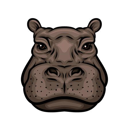 Ilustración de Hippo head cartoon icon. African hippopotamus mammal animal isolated symbol for wildlife themes, zoo sign, t-shirt print design - Imagen libre de derechos