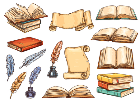 Illustration pour Old book and scroll with vintage feather pen and ink sketch set. Pile of retro book and antique parchment with empty page, colorful quill and inkwell icon for education and literature themes design - image libre de droit