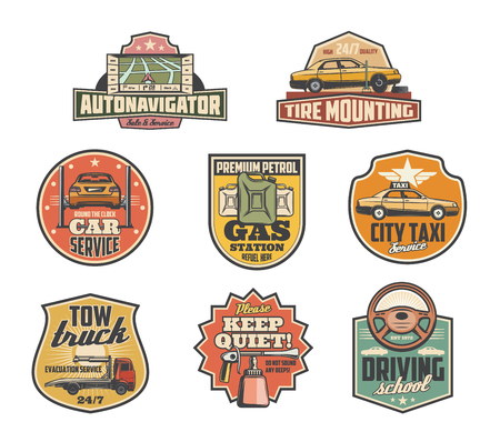 Car service retro icons for taxi or auto garage service. Vector navigator map, tire mounting and fitting of gas station, tow truck or wrecker and diving school advertisement or keep quiet sign