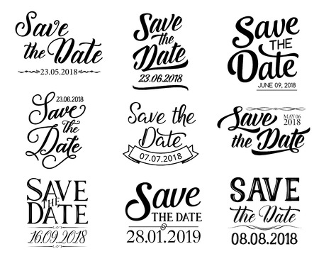 Illustration pour Save the Date or wedding and RSVP lettering for greeting and invitation cards. Vector sketch calligraphy design and ornate ribbons for engagement party - image libre de droit