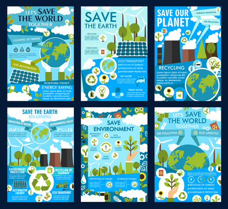 Ilustración de Save Earth posters for ecology protection and environment conservation. Vector green energy solar panels and windmills in eco nature or planet air pollution with power plants and CO emissions - Imagen libre de derechos