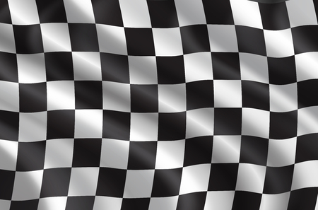 Illustration for Car races or auto rally flag 3D. Vector checkered background of wavy sport flag with checker pattern for bike or motocross races competition or championship design - Royalty Free Image
