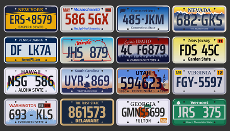 Illustration for Vehicle registration number plates of American states and city. Vector set of car license number plate from New York, Pennsylvania or Washington and Hawaii, Idaho or Virginia and New Jersey region - Royalty Free Image