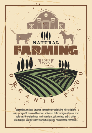 Illustration pour Organic farming retro poster with natural farm food, agriculture theme design. Green field with growth, barn, cow and horse animal, farmer market vintage template - image libre de droit