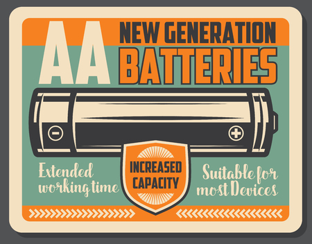 Electric battery retro signboard, power supply device. Alkaline energy battery with vintage shield. Power accumulator theme, vector design