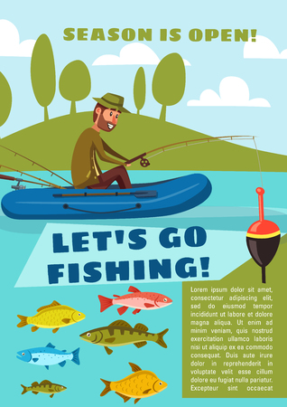 Illustration pour Fisherman fishing from boat with rod and hook, carp fish, cod and bream, perch and pike. Lets go fishing poster for outdoor activity open season design. - image libre de droit