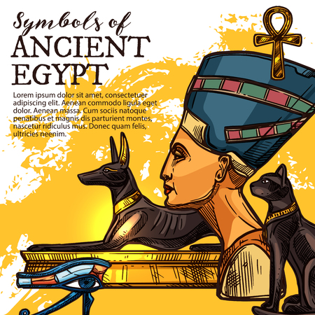 Illustration pour Ancient Egypt culture, history and religion symbol. Egyptian god of death Anubis, eye of Horus and queen Nefertiti, symbol of life ankh and black cat deity sketch vector banner. Travel theme - image libre de droit