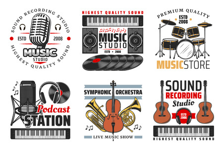 Illustration pour Music shop, sound record studio and podcast station icons with guitar, microphone and headphones, drum set, vinyl records and notes. Symbols with musical instrument and equipment - image libre de droit