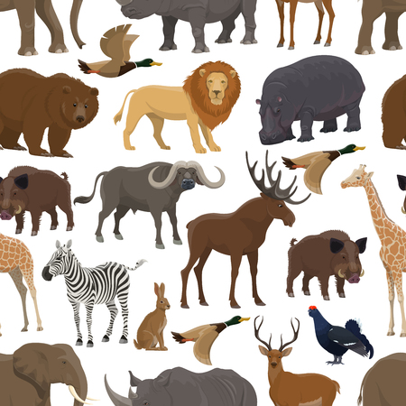 Ilustración de Wild animal and bird seamless pattern background for hunting sport themes design. Forest deer, bear and duck, african safari elephant, lion and giraffe, rhino, hippo and zebra, hare, elk and boar - Imagen libre de derechos