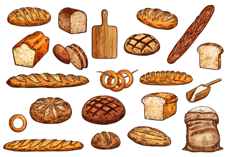 Vektor für Bread and sweet pastry sketch set of pastry shop food. Wheat, rye and long loaf bread, baguette, toast and bagel, flour bag and cutting board isolated icons. Bakery objects - Lizenzfreies Bild