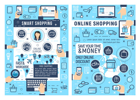 Illustration pour Online smart shopping and e-commerce business. Laptop, tablet or mobile phone with web store thin line icons of shopping cart, money and delivery map, online order, payment and support - image libre de droit