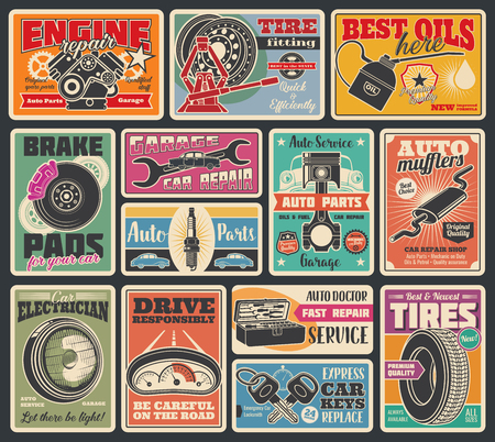 Illustration pour Car service and auto center vintage signboard. Vector retro design of car engine oil service, tire fitting or pumping and mechanic repair or spare parts store, keys, battery or oil - image libre de droit
