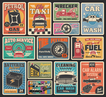 Illustration pour Car service retro grunge cards for transportation and auto repair garage themes design. Vintage signboard for car washing, tire fitting and motor oil shop, gas station, auto painting and taxi service - image libre de droit