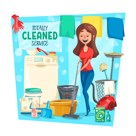 Ilustración de Home cleaning service, vector. Cartoon housewife woman with laundry in washing machine, vacuum cleaner or sponge and polisher or detergent soap mopping floor - Imagen libre de derechos