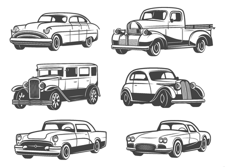 Illustration pour Retro cars and vintage antique vehicle models. Vector isolated icons of transport taxi cab, sport car and minivan, old luxury sedan or limousine. Car show and auto service themes - image libre de droit