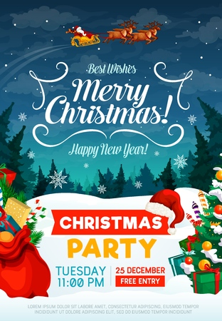 Illustration pour Christmas party poster or invitation card. Happy New Year and Xmas greeting design with Santa in sleigh with gifts bag and trees in snow on background - image libre de droit