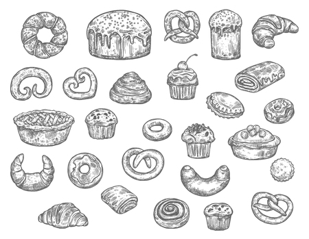 Vektor für Bread, buns, cakes and pastry desserts vector sketch. Isolated wheat bagel, toast or croissant and bun, sweet chocolate donut and pie with gingerbread cookie biscuits. Bakery shop - Lizenzfreies Bild
