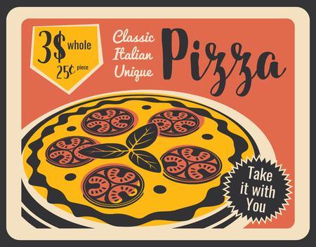 Illustration pour Pepperoni pizza, Italian pizzeria restaurant or bistro cafe menu and takeaway or delivery. Vector pizza with cheese, salami sausage or pepperoni and basil. Retro style - image libre de droit