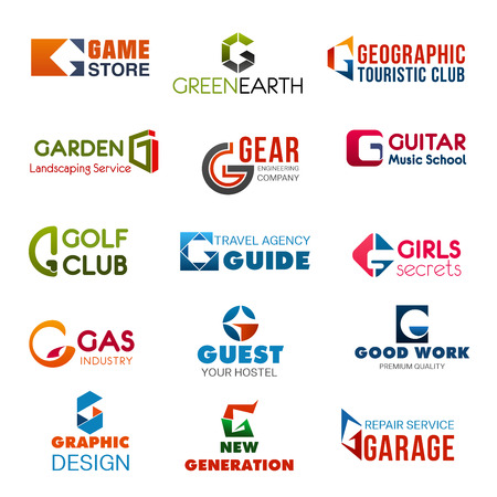 Illustration pour Letter G vector corporate identity, industry or company brand template. Vector abstract G letter in game store, golf club or guest hostel, garage repair service with graphic design agency or studio - image libre de droit