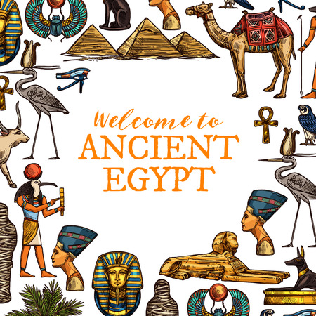 Illustration pour Welcome to ancient Egypt travel poster. Pharaohs, ankh and Ra god, Cleopatra head and sphinx, Great pyramids and camel, golden cross and stork, Tutankhamun and scarab - image libre de droit