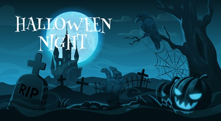 Illustration pour Halloween night, cemetery or graveyard. Vector gravestones and crosses, crow on tree and zombie hand, Jack lantern and scary castle. Autumn holiday, moonlight and spooky landscape with tombs - image libre de droit