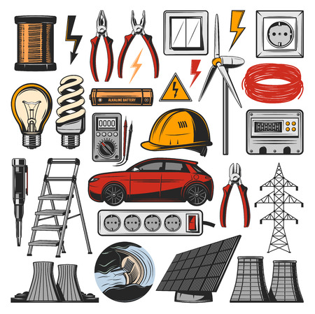 Illustration pour Electricity equipment and electrician tools icons. Vector power plant, electro car or light bulb and ammeter with voltmeter, solar energy battery or lamp switcher and electric socket - image libre de droit