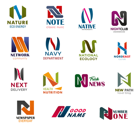 Illustration pour Letter N business identity vector icons. Nature, note or night club, network or navy, national newspaper news, nutrition industry and ecology or business company technology - image libre de droit
