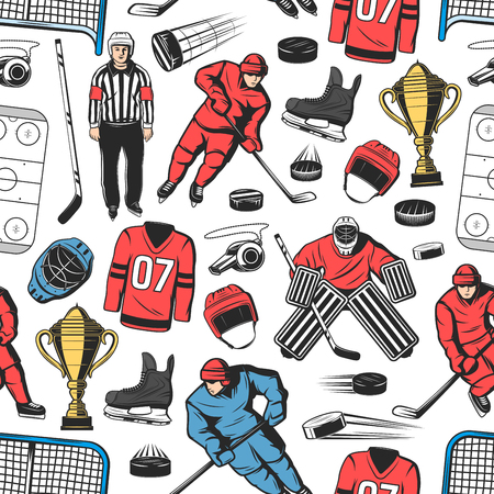 Illustration pour Ice hockey seamless pattern background with players on rink. Forward with puck, stick and skate, helmet, gate and goalkeeper, whistle, goalie mask and referee. Winter sport theme - image libre de droit