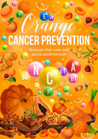 Illustration pour Orange day color diet nutrition of vegetables, fruits and spices. Vector vitamin orange, papaya and apple, peach, carrot and pumpkin, ginger, cinnamon and saffron, dried apricot and sea buckthorn - image libre de droit