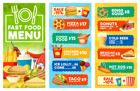 Illustration pour Fast food menu of snacks, drinks and desserts. Hamburger, hot dog and taco sandwiches, pizza, chicken and fries, donut, coffee and soda, ice cream and popcorn. Combo meal, vector design - image libre de droit