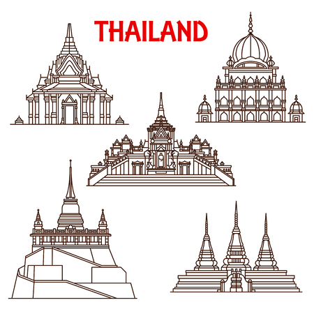Illustration pour Thailand Buddhist temples architecture vector landmark icons. Thin line facades of Golden Buddha Wat Traimit, Saket Mount or Pho and Sikh temple or Lak mueang shrine in Bangkok - image libre de droit
